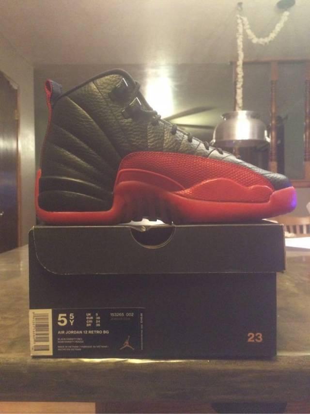 a82da73b7b5 Nike Air Jordan XII Retro 12 Flu Game 2016 Black Varsity Red Sz  5.5Y with  receipt