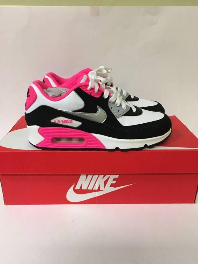 Nike Air Max 90 2007 Girls White Metallic Silver Hyper Pink  516375048
