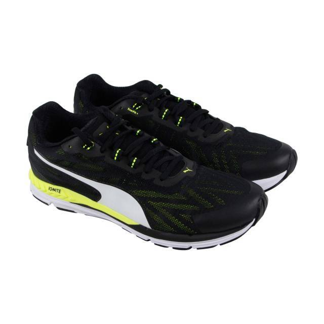 6af158f2ea69a2 Puma Speed 600 Ignite 2 Mens Black Textile Athletic Lace Up Running Shoes 9