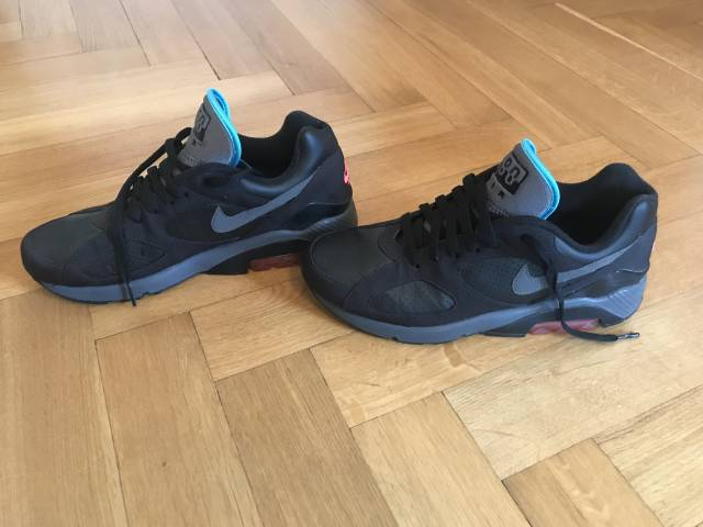 Nike Air Max 180 Black/Dark Greyu2013Alarming Redu2013Chlorine Blue ...