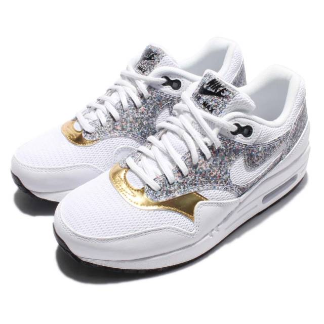 Wmns Nike Air Max 1 Se Grey Gold Women Running Shoes Sneakers Trainer 881101 100