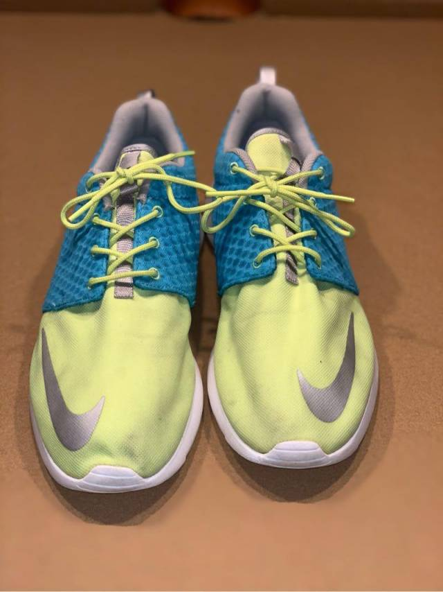 727f070a45184 Nike Roshe Run Men s Fb Yeezy Blue Yellow Running Shoes