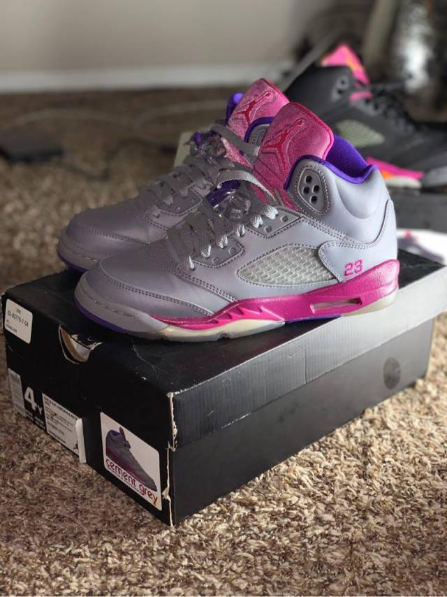 81db5fd018b0 Air Jordan 5 GS - Cement Grey   Pink Foil - Raspberry Red