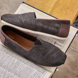 Toms herringbone charcoal men'...
