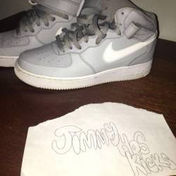 Grey high top air force 1's