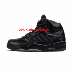 Air jordan 5 black leather prm...