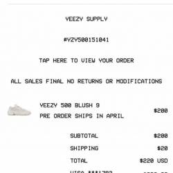 Yeezy 500 blush size 9. pre-or...