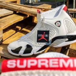Supreme x air jordan 14 white ...