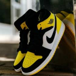 Nike air jordan 1 mid yellow t...