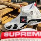 Supreme x Air Jordan 14 White University Red