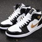Nike Air Jordan Retro 1 Mid SE White Black Metallic Gold